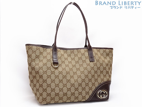 639623edb16 Brand Liberty  Gucci GUCCI GG canvas double G tote bag shoulder bag beige X  dark brown canvas X leather 169946