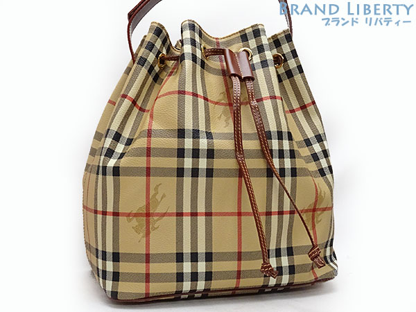 Product made in Burberry BERBERRY London Haymarket check drawstring purse  type shoulder bag beige X brown PVC X leather Italy 121c19395f