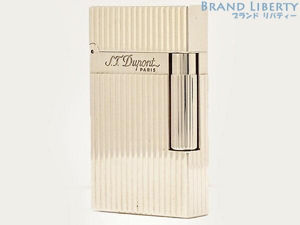 【快音美品】デュポン S.T.Dupont ライン2 ヴァーティカルライン ローラーガスライター シルバー 真鍮 16817 【中古】