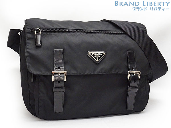 Take Prada PRADA nylon slant  shoulder bag messenger bag NERO black nylon X  leather B6671 6e55305d647b7