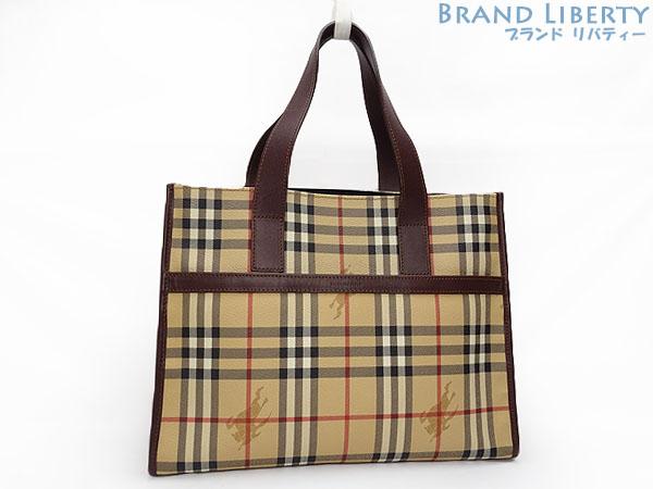 Burberry BERBERRY London Haymarket check tote bag handbag beige X dark  brown PVC X leather f949de9a9b