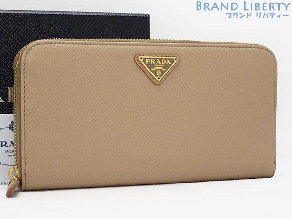 28fe9157e532 【新品】プラダ PRADA サフィアーノ トライアングル CAMMEO(ピンクベージュ)サフィアーノレザー 1ML506 ラウンドファスナー長財布 -レディース財布