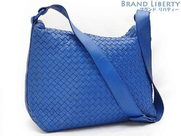 ae8c5fa08028 Take ボッテガヴェネタ BOTTEGA VENETA イントレチャートワンショルダーバッグ slant  shoulder bag  messenger bag blue lambskin 115658