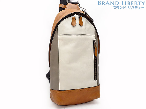 Coach COACH Manhattan sling pack body bag backpack men white X gray X brown  calf-leather 72096 401f749e6d019