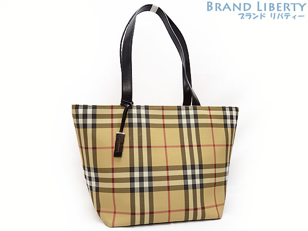 Product made in Burberry BERBERRYS London checked pattern shoulder tote bag  handbag beige X black PVC X leather Italy e03e6390a1