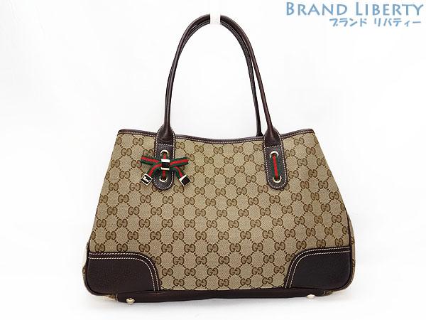Gucci Gg Canvas Sherry Line Shoulder Tote Bag Handbag Beige X Dark Brown Leather 163805