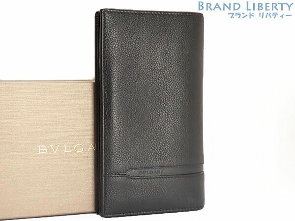 【超美品】ブルガリ BVLGARI オクト 二つ折り長財布 ブラック レザー 36966 【中古】