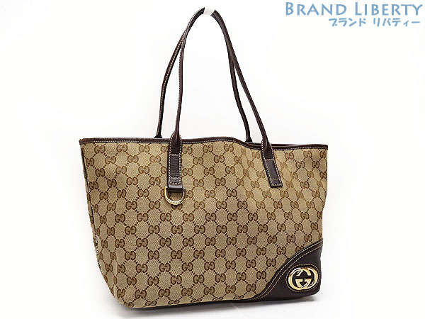 d4b8d791cd8 Gucci GUCCI GG canvas interlocking grip G double G tote bag shoulder bag  beige X dark brown canvas X leather 169946
