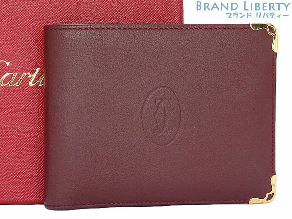 【美品】カルティエ Cartier マストドゥカルティエ 二つ折り財布 コンパクト財布 ボルドー  カーフレザー L3001368 【中古】