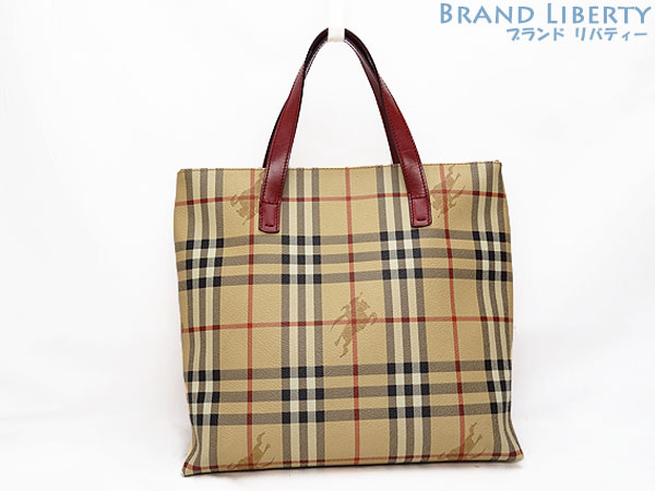 Brand Liberty  Product made in Burberry BERBERRYS London Haymarket check  handbag tote bag beige X red PVC X leather Italy  e7324457aacf0
