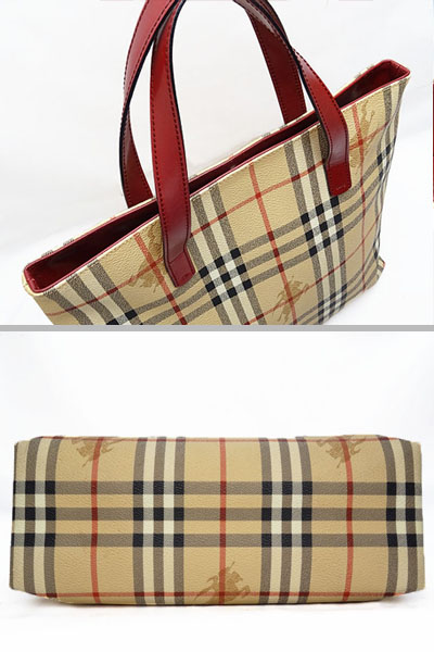 Product made in Burberry BERBERRYS London Haymarket check handbag tote bag  beige X red PVC X leather Italy  7d29e3426c764