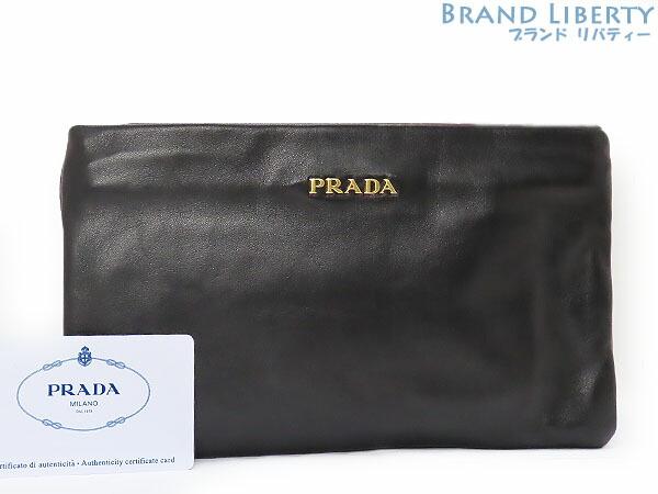 100%本物補償 プラダ PRADA ナッパ レザー 購入 ダブルクラッチ セカンドバッグ クラッチバッグ ラムレザー 出荷 ポーチ 中古 ブラック BP0635
