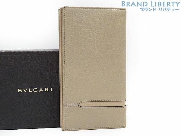 【未使用】ブルガリ BVLGARI オクト 二つ折り長財布 ベージュ レザー 37162 【中古】