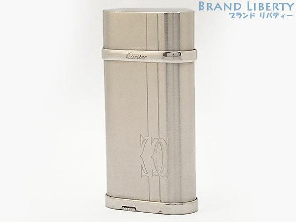 【美品】カルティエ Cartier 2Cロゴ&ライン ガスライター シルバー スティールフィニッシュ CA120157 【中古】