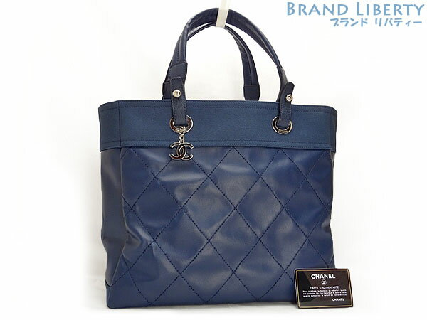 81622a407eee Chanel CHANEL Paris Biarritz MM tote bag handbag blue coating canvas X  calf-leather A34209