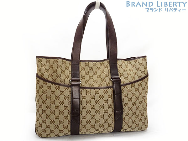 a739e5a80b5 Gucci GUCCI GG canvas tote bag shoulder bag beige X dark brown canvas X  leather 153238