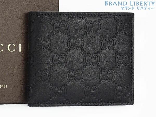 【新古品】グッチ GUCCI グッチシマ 二つ折り財布 コンパクト財布 ブラック シマレザー 146223【中古】
