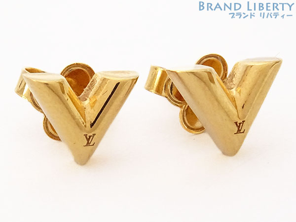 Louis Vuitton Louisvuitton Studs Earrings エセンシャル V Pierced Gold M68153