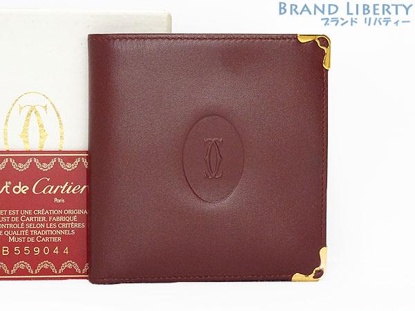 【ほぼ新品】カルティエ Cartier マストドゥカルティエ 二つ折り財布 コンパクト財布 ボルドー カーフレザー L3184192 【中古】