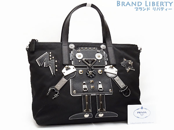 526a7a86ec71 Prada PRADA robot motif nylon leather studs tote bag handbag black X silver  metal fittings TESSUTO ROBOT nylon X calf-leather X metal 1BG061