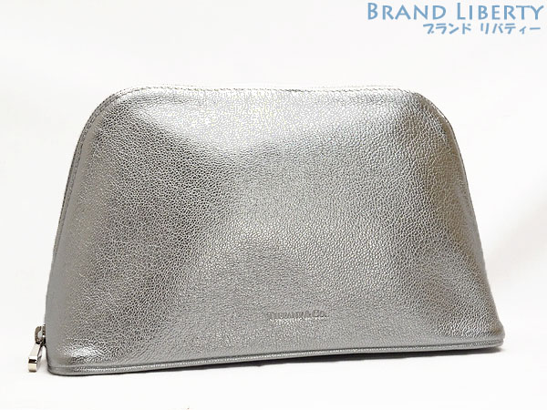 155f9250597 Tiffany Co Zip Dome Porch Cosmetics Bag Makeup Accessory Case Silver Leather