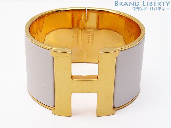 51b1d1450660 Hermes HERMES click crack XL TGM extra large H bangle bracelet white X gold  palladium play Ted X enamel