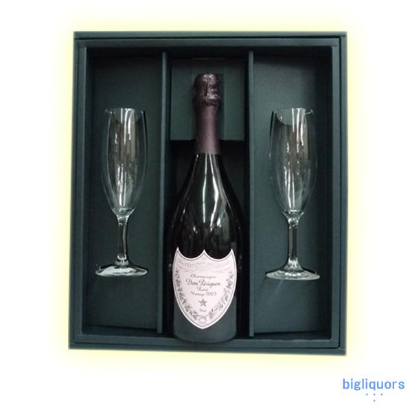 ドンペリニヨン (ロゼ)750ml 【2003】【正規品】ギフトBOX付き・シャンパングラス2本セット【□】