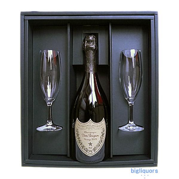 ドンペリニヨン (白)750ml ギフトBOX付きシャンパングラス2本セット【□】