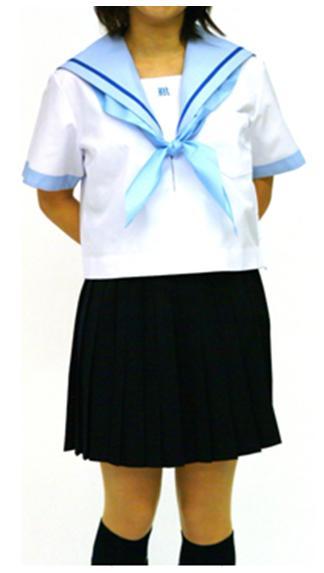夏セーラー服 上着のみ 145cm~170cm サックス衿ブルー1本線【半袖】【国内縫製】【日本製】【受注生産】オーダーセーラー承ります
