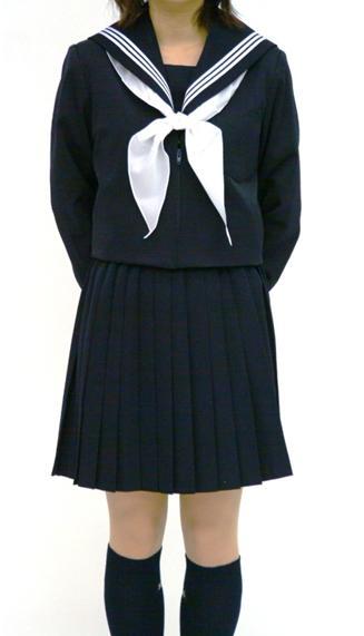 [名古屋衿]冬 黒セーラー服 上着のみ 165cm~ 黒衿白ライン/衿カバー【ベーシック】【受注生産】【長袖】【国内縫製】【日本製】オーダーセーラー承ります