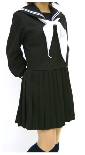 黒 冬セーラー服(衿小さめ)上着のみ 145cm~170cm 黒衿白2本線【ベーシック】【受注生産】【長袖】【国内縫製】【日本製】オーダーセーラー承ります