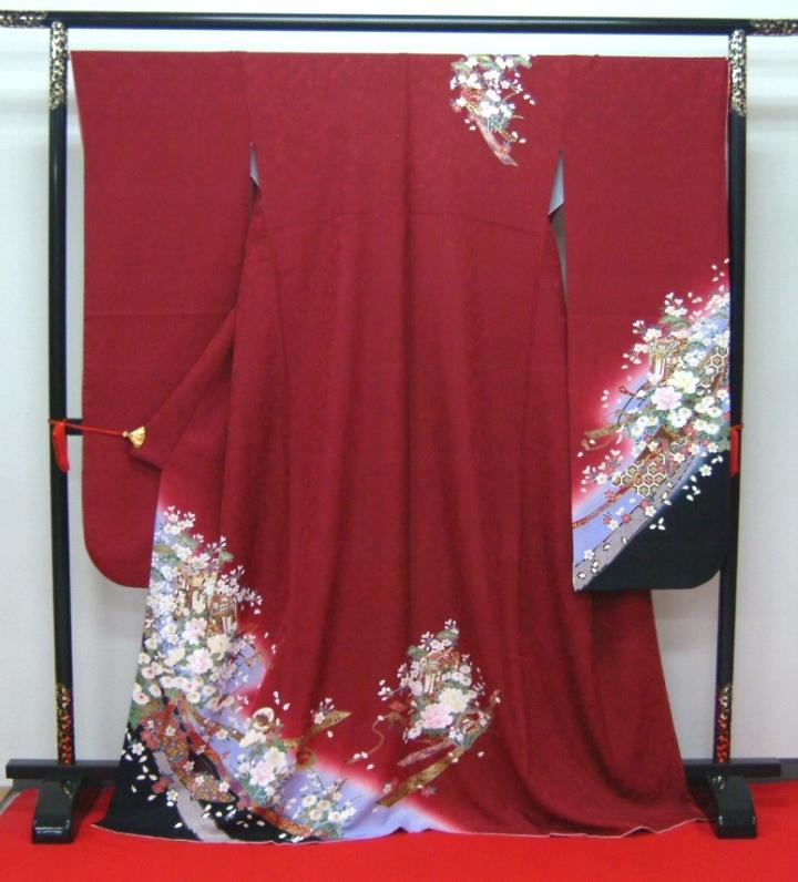 【高級振袖】「展示品・貸衣装・レンタルの振袖を大処分!!」【赤・古典・御所車】 身長155cm~175cm【振袖販売/中古/着物/きもの/和服】