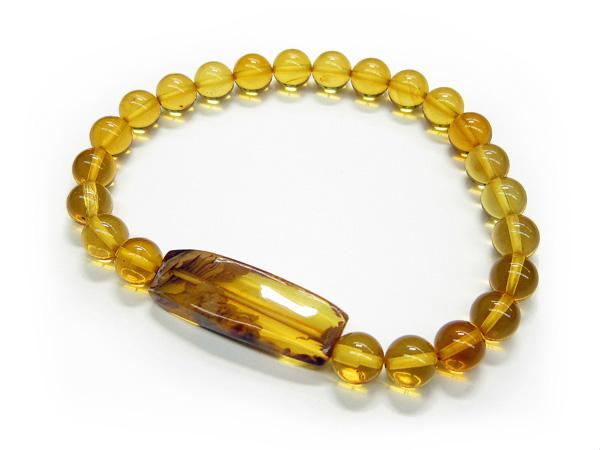 【腕輪念珠】ブレスレット 琥珀(こはく) 平板付【アンバー】【天然石】