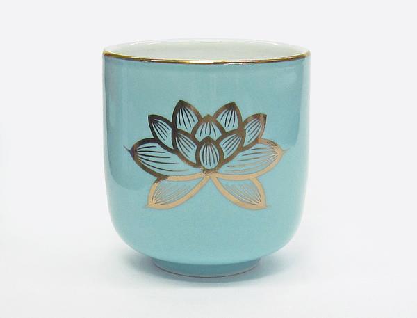 輸入 仏様にお供えするお湯のみです 茶湯器 倉 カラツ 1.8 青地 金蓮