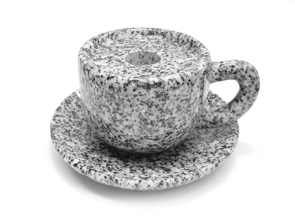 【御影石(閃緑石)】お墓用線香立て コーヒーカップ お皿付き 2.5寸【墓石用】【はこぽす対応商品】
