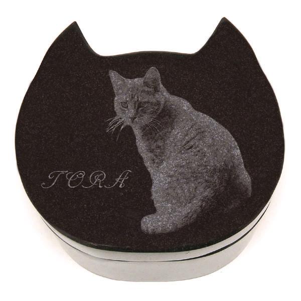 セール価格 ストア ペットとの想い出を高級ミカゲ石に収納しませんか? メモリーズケース 黒御影-猫 レーザー彫刻