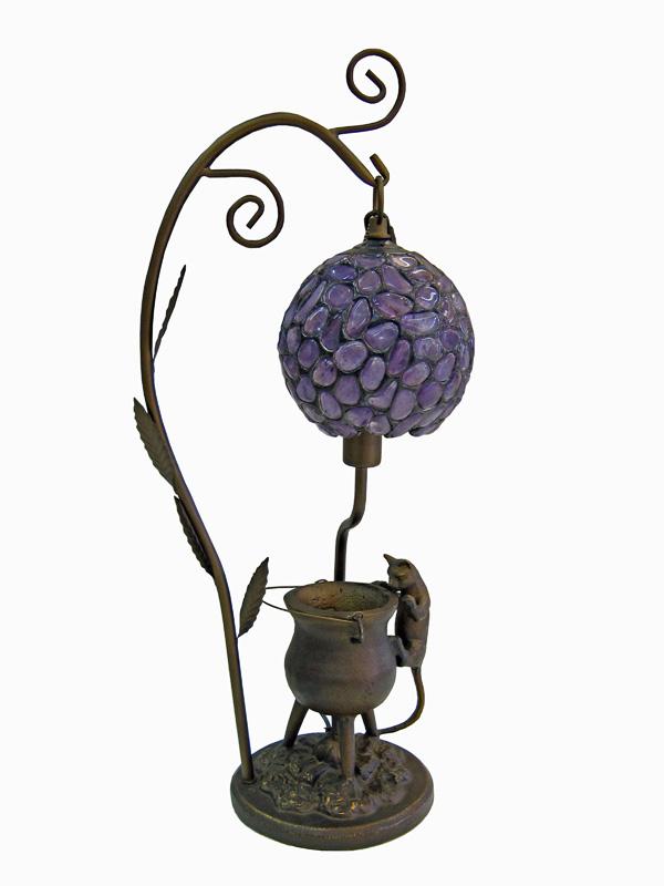天然石ステンドグラスランプ アメジスト 【紫水晶】【ブラジル産】【自然石】