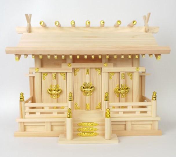 神棚・神具(高さ40cm)『通し屋根三社よりそい』小)本体のみ