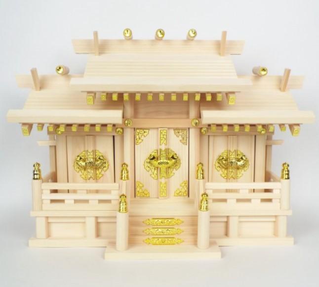 神棚・神具(高さ41cm)『屋根違い三社いすず』小)本体のみ NO.26