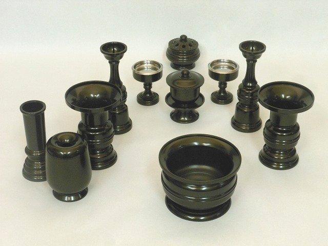 【お買い得品】天祥型11具足(真鍮製)3.5寸 黒光色