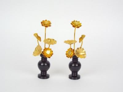 アルミ豆常花「咲きれんげ」1.8寸華鋲付き(黒)5本立て(1対)