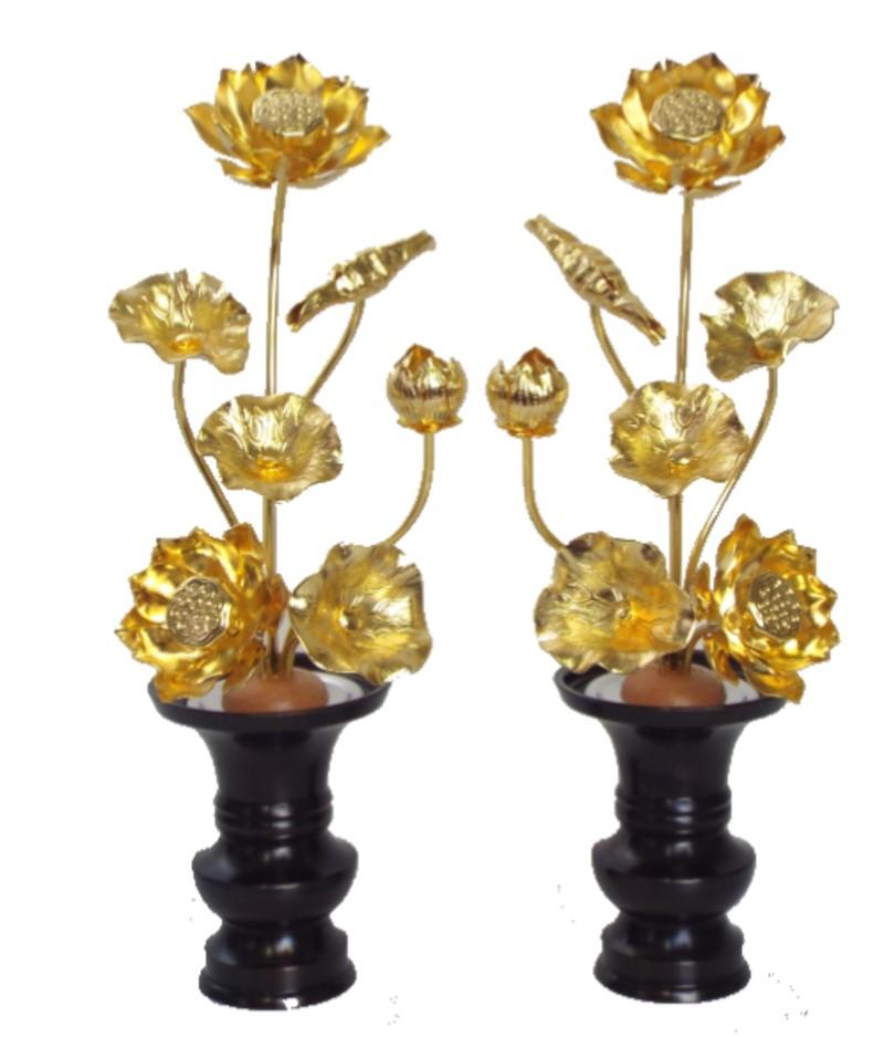 ■花立付きの1対での販売 常花セット品 真鍮製 本金メッキ 5寸7本立と花立3寸付き(1対)【smtb-KD】