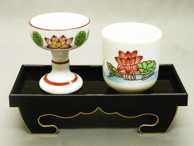 ■各種仏壇用の仏器膳セット 日本 錦 お中元 仏器膳セット5寸 仏飯器 溜