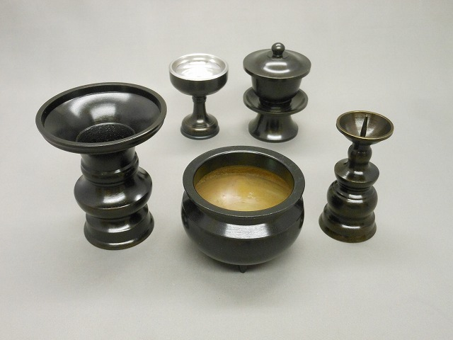 小仏壇用 黒光色5点セット(香炉2.5寸セット)