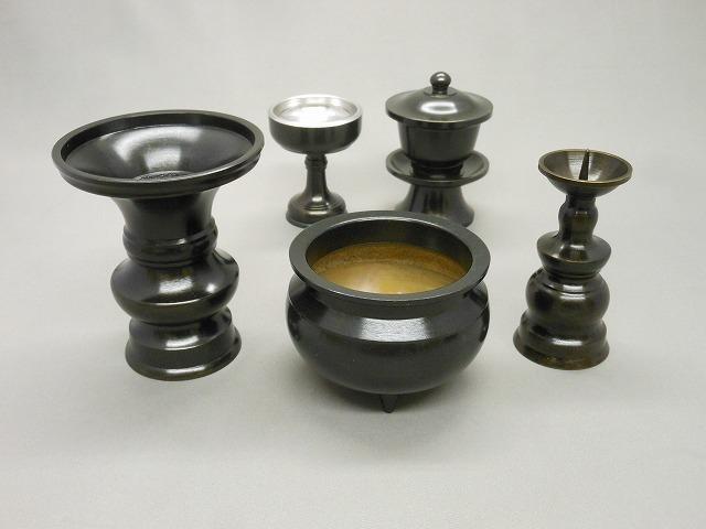 小仏壇用 黒光色5点セット(香炉3寸セット)