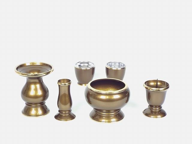 琵琶(びわ)6具足(真鍮製)3寸 ライトブラウン色