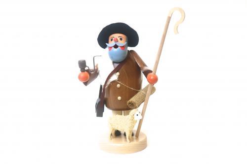 煙出し人形・羊飼い(茶服)ドイツ製 クリスマス ザイフェン 木のおもちゃ 玩具 インテリア オブジェ ギフト プレゼント お祝い【宅配便配送】