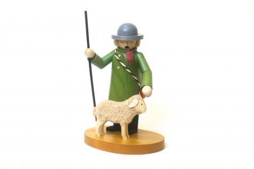 煙出し人形・羊飼い(緑服)ドイツ製 クリスマス ザイフェン 木のおもちゃ 玩具 インテリア オブジェ ギフト プレゼント お祝い【宅配便配送】