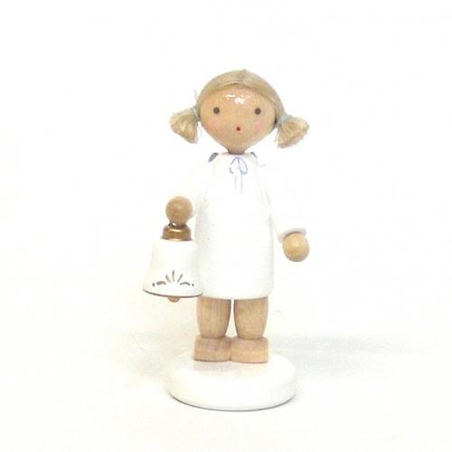ミニチュア 天使とベル フラーデ工房 ドイツ製 人形 クリスマス ザイフェン 木のおもちゃ 玩具 インテリア オブジェ ギフト プレゼント お祝い【宅配便配送】
