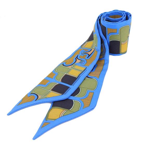 ☆B楽市本店☆本物 HERMES エルメス ツイリースカーフ シルク 青 ブルー 【小物】【中古】【美品】